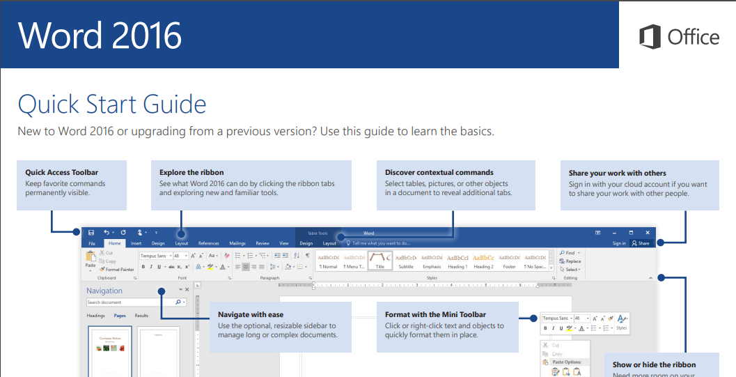 word 2016 lisence start guide